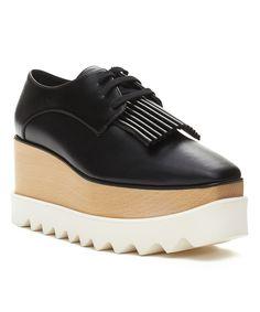 STELLA MCCARTNEY   Stella Mccartney Women's Elyse Brogue Platform Creeper Shoes Black Tassle #Shoes #Oxford #STELLA MCCARTNEY