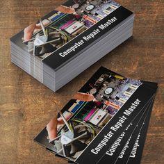Monogram Black Keyboard Computer Repair Business Card Templates - Computer repair business card template