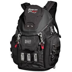 """Everything but the Oakley KITCHEN SINK Backpack (OK1194) As low as $214.99 : This backpack offers every conceivable innovation – all prime features in one design  600D polyester and nylon construction Top storage compression-molded brushed optics compartment Padded sleeve for up to 17"""" laptop Cable zipper pulls allow you to lock and secure main compartment Mid-body access flap includes an inner organizer Compartment at bottom has drainage ports for wet or soiled Items (great for shoes)"""