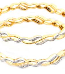Brass Cubic Zirconia Yellow Gold Bangle Set Indian Bangle, Wear on Everyday, Mettal Made Yellow color, gift for sister my choice, artificial Jewellery  .  This Bangle Make is  MettalBangle Color Is Yellow .