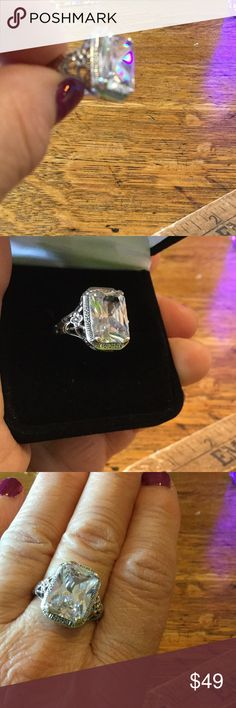 "Vintage ""style"" ring, Sterling Rectangular CZ ring, new, but in a setting of actual vintage mold. NWOT, made to order. STUNNING, beautiful filigree setting. Size between 8.5 and 8 3/4. Every one of my friends either has this ring, or they want it. Everywhere I go, people comment on it. Jewelry Rings"