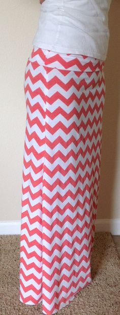 Hey, I found this really awesome Etsy listing at https://www.etsy.com/listing/130488144/coral-and-white-chevron-maxi-skirt
