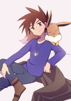 Gary Pokemon, Pokemon Oc, Pokemon People, Pokemon Rouge, Gary Oak, Deviantart Pokemon, Green Pokemon, Pokemon Photo, Blue Trainers