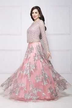 Light Dark Shades Formal Bridal Lehenga is available in so many different patterns and designs that you can never have enough of them below we have some nice designs for you. Lehnga Dress, Bridal Lehenga Choli, Kimono Dress, Indian Gowns Dresses, Pakistani Bridal Dresses, Stylish Dresses, Fashion Dresses, Moda Indiana, Designer Party Wear Dresses