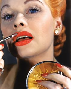 Lucy from an article in Vanity Fair with old time Hollywood icons in vivid Kodachrome pictures. Love her blue eyes. Can't say the same for the lipstick.