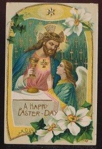 Beautiful Jesus with Chalice & Angel Vintage Antique Easter Postcard-bbb444