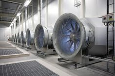 A bank of cooling fans are seen at Facebook Inc.'s data storage center near the Arctic Circle in Lulea, Sweden, on June 12