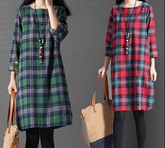 Womens Cotton Linen Long Sleeve Plaid Checks Skirt Fall Winter Casual Dress New #Unbranded #Casual
