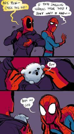 Marvel Universe 132645151510878934 - Spideypool Spider-Man Deadpool Source by Marvel Dc Comics, Heros Comics, Funny Marvel Memes, Dc Memes, Marvel Jokes, Funny Comics, Funny Memes, Funny Humour, Funniest Memes