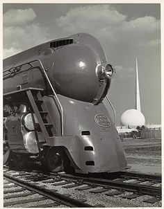 Locomotive, with Entrance to Perisphere of 1939 New York World's Fair in Background - Samuel H. Gottscho