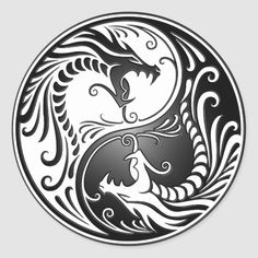 White and Black Yin Yang Dragons Classic Round Sticker - This stunning yin yang design features two stylized tribal dragons. Intricate lines and swirls deco - Dragon Yin Yang Tattoo, Yin Yang Tattoos, Tribal Dragon Tattoos, Ying Yang, Yin Yang Art, Drawing Dragon, Dragon Art, Dragon Tattoo Designs, Tattoo Designs Men