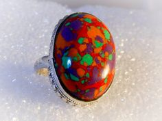 Large Sterling Fire Opal Ring    Size 7 1/2     15 Carat  Fire Opal by GemstoneCowboy on Etsy