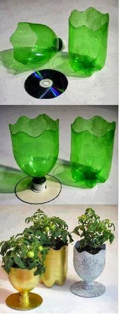 Plastic bottle and cd DIY cup or vase good for ice cream bowl cups, small plants, candy holder, seasonal decor, etc.
