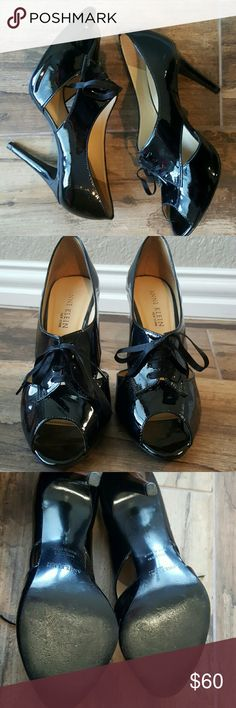 Anne Klein Black peep toe lace up heels Sultry 4 inch black heels that spice up any outfit. There is a very minimal scratch on back of heel shown in picture 4 hardly noticeable when worn. Anne Klein Shoes Heels