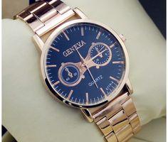 Luxusné dámske hodinky Geneva v zlatej farbe s čiernym ciferníkom. Sleduje  svoj čas štýlovo s c8d5e482014