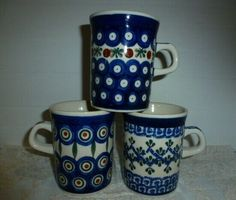 6400b0ae4f2 Vintage Coffee Mugs Cups Boleslawiec 3 Hand Made in Poland Polish Pottery  #PolishPottery