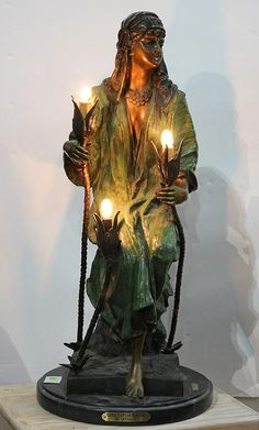 """Art Nouveau style patinated bronze figural table lamp,  """"Seated Egyptian Princess, by Guellot"""""""