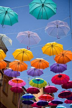 Colorful umbrella street decoration by Luca Pierro Umbrella Painting, Umbrella Art, Colorful Umbrellas, Umbrellas Parasols, Umbrella Street, Umbrella Decorations, Outdoor Restaurant, Rainbow Aesthetic, Color Of Life