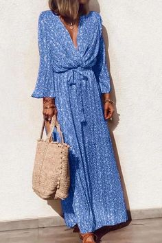Elegant V Neck Floral Pattern Long Sleeve Casual Maxi Dress – Allinlike Long Sleeve Maxi, Maxi Dress With Sleeves, Sleeved Dress, Easy Style, Casual Dresses, Summer Dresses, Maxi Dresses, Woman Dresses, Long Dresses