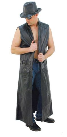One of a kind sleeveless trench coat is extra long with inside chest pocket and side buckles. Fits over any denim or leather coat. sleeveless with large sle Long Leather Coat, Leather Skin, Leather Jackets, Pink Leather, Real Leather, Sleeveless Trench Coat, Punk Looks, Rugged Men, Leather Trench Coat