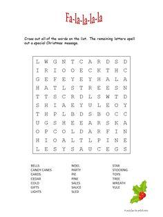 fa la la la word search a printable christmas puzzle