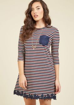 Dreamy Like Sunday Morning Shift Dress. Easy days, brunch dates, and this striped T-shirt dress - these are your three favorite things about the weekend! #blue #modcloth