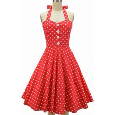 miss mabel sweetheart sun dress red large polka dots ($38) ❤ liked on Polyvore featuring dresses, red halter top, halter sun dress, red sweetheart neckline dress, sundress dresses and sweetheart dress