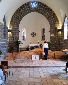 """By tradition, the stone upon which Jesus cooked breakfast, after the Resurrection, for the disciples by the shore of the Sea of Galilee. It is contained in the Church of the """"Mensa Christi"""" (Table of Christ). #placestopray #HolyLand16"""