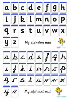 Worksheets Pinakatay Alphabet the cursive alphabet used in most uk schools calligraphy mat including large letters a z great to laminate and put your writing area aid with independent also avai