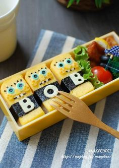 "So cute Bob ""Japanese bento"" bento means lunch in Japanese. Kawaii Bento, Cute Bento, Amazing Food Art, Japanese Food Art, Creative Food Art, Bento Recipes, Sashimi, Bento Box Lunch, Food Humor"