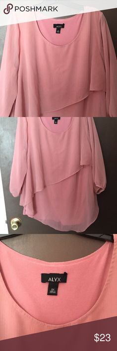 NWOT dressy asymmetrical top NWOT sheer dressy top. Fully lined, 3/4 length sheer sleeves, asymmetrical hem line. Beautiful blush pink color. Size 0x Alyx Tops
