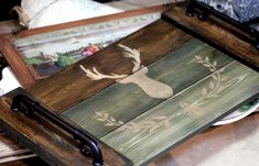Wood Projects, Decoupage, Stencils, Coasters, Tray, Home Decor, Diy, Wood, Craft