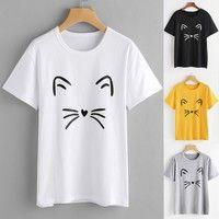 Buy Women Fashion Casual Short Sleeve O-Neck Cat Printed Causal Blouse Tops T-Shirt. at Wish - Shopping Made Fun