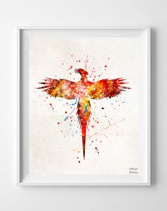 Harry Potter Fawkes the Phoenix Watercolour Art Print by InkistPrints on etsy.