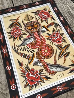 """Devil Cobra"" – Marvin Diekmaennken – Giant Tattoo Art Print – Worldwide Shipping - Famous Last Words Traditional Tattoo Painting, Traditional Tattoo Animals, Traditional Snake Tattoo, Traditional Tattoo Design, Traditional Tattoo Flash, Tattoo Flash Sheet, Tattoo Flash Art, Flash Tattoos, Japanese Snake Tattoo"