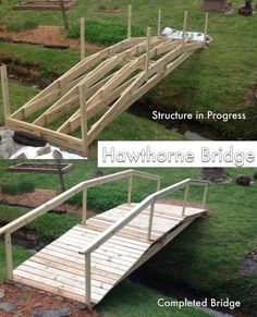 My parents built theirselves a new super sturdy bridge in their backyard. It's called a Hawthorne Bridge. Framing Construction, Bridge Construction, House Construction Plan, Ponds Backyard, Backyard Patio, Backyard Landscaping, Farm Pond, Pond Design, House Deck