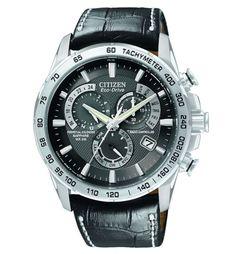 Citizen AT4000-02E Men's Eco-Drive Alarm Leather Strap Perpetual Calendar Watch