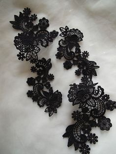 black Lace Applique bridal headpiece applique 2 pcs by LaceFun