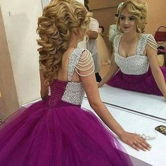 ==> [Free Shipping] Buy Best Fashion Purple Wedding Dresses Ball Gown Tulle with Silver Beading Lace Up Back Big Bride Bridal Gowns Custom Made Plus Size Online with LOWEST Price | 32791624316