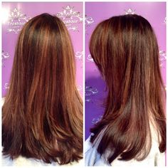 Rich chocolate and caramel were melted together throughout this clients hair to give her this delicious color!