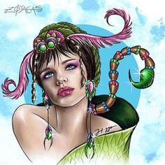 ZODIACA DE ESCORPIÃO - Ilustra inspirada na beleza brasileira de Bruna Linzmeyer. #zodiacas #higgocabral #escorpiana #scorpio #escorpiao