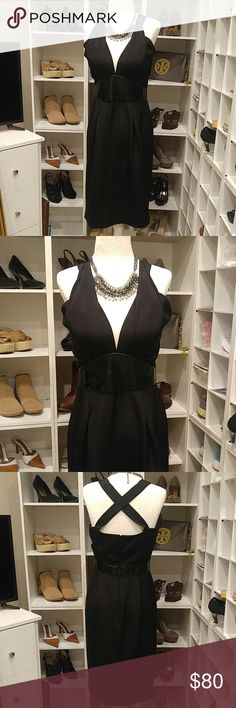 "BADGLEY MISCHKA BLACK SILK DRESS 100% Silk Combo Patent  Lining- 97% Polyester, 3% Spandex Fully lined Bust-36"" Waist-28"" Hips-38"" Length-39"" Halter with criss cross back Zipper in back. Built in bra cups. Excellent Condition!! Badgley Mischka Dresses Midi"