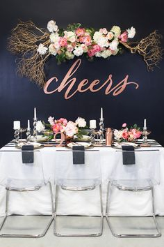 Hanging message over top table or dancefloor