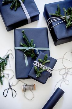 Welcome to the Matthew Williamson Stocking Fillers Gift Guide for the holiday season 2015. Whether you're seeking tiny treasures or last-a-lifetime luxury, you'll find the perfect present. Gift wrapping with blue ribbons and pine leaves.
