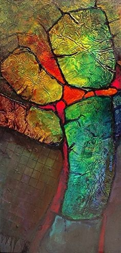 Glowing Stones,     13040 by Carol Nelson mixed media ~ 12 x 6