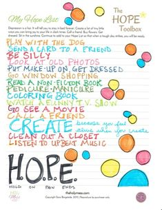 Create a Hope List for the tough days of depression and sadness. Choose small, tiny steps to take that are doable! This list created by April Best of discoverfreedomproject.com. Click for more details on how to create your own!