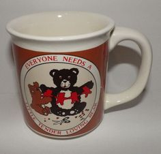 Little Tender Loving Bear Coffee Mug Teddy Brown Red Patterned Tea Cup 10 oz.