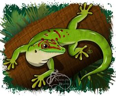 Day Gecko Daily Creature by NadilynBeatosArt on Etsy, $10.00
