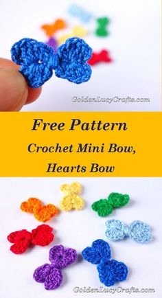Crochet Purses Free Crochet Pattern - Mini Bow, Hearts Bow - This Crochet Mini Bow is another heart-shaped project. The bow is made with two connected hearts. Easy to make, only about Crochet Bows Free Pattern, Easy Crochet Patterns, Crochet Motif, Crochet Flowers, Crochet Yarn, Crochet Appliques, Crochet Embellishments, Crochet Birds, Crochet Animals
