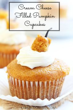 Festive Pumpkin Cupcakes with Cream Cheese Filling - Perfect for bake sales or after school treats!